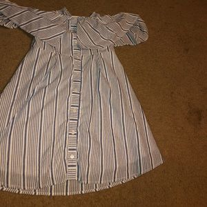 Agaci blue and white striped off shoulder shirt